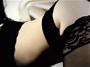 Nylons Sn trio scorching Katrina Jade nailed doggie-style in stocking