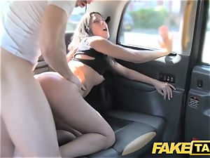 faux taxi tall Spanish hotty tears up her beau in the back