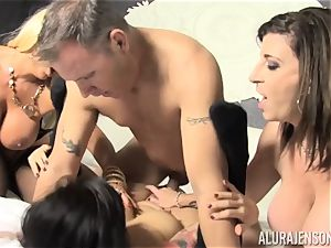 muff licking and jizz-swapping hook-up with Alura Jenson and her luxurious pals