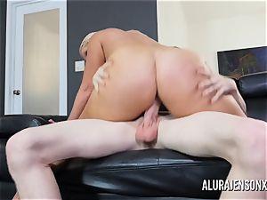 giant titty pornographic star Alura Jenson romps a draped junior man