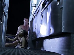 Asa Akira is entirely man meat cooked in a swift food trailer