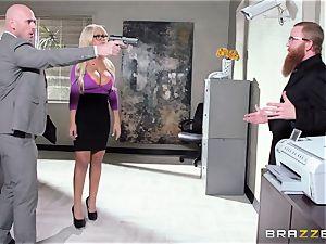 Bank robbing stunner Bridgette B fucks in front of the chief