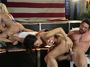 Asa Akira and Bridgette B give a off the hook demonstrate