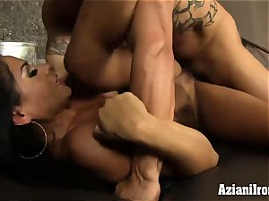 tanned sport model rides fellows face then gets pulverized