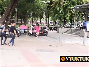 chinese woman is seduced in public into going back to tourists hotel for fuckfest