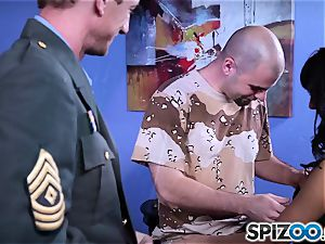Evi Fox plays around with two sizzling miltary folks