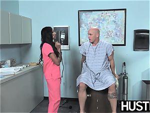 Latina nurse Sadie Santana gets both fuckholes stretched
