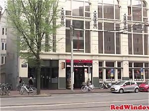 hefty boobed Amsterdam hooker gets jizm showered