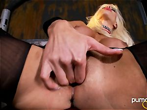 Puma Swede on the floor toying her cooter