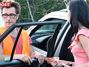 LETSDOEIT - teenager screws elder stud For Free Car Repair