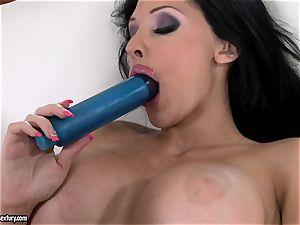 insatiable stunner Aletta Ocean romps her rosy fuck-hole with her dearest blue fucktoy