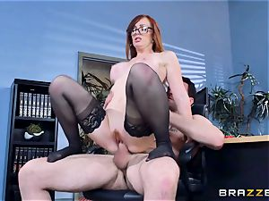 Dani Jensen playing with spunk-pump in the office
