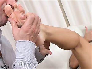 Aletta Ocean uses her marvelous feet to jack weenie