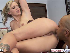 towheaded educator Julia Ann romping a big black cock