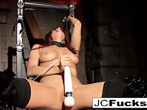 bound ultra-cutie satiates herself while still shackled up