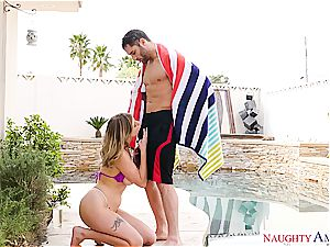 Giselle Palmer pulverized by the pool