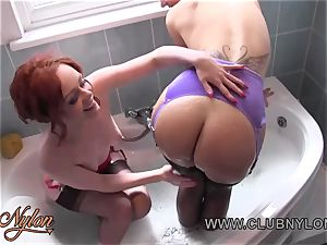 all girl babes soap boobies caboose fingerblasting cooch in nylons