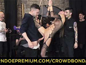 CROWD restrain bondage - extraordinary domination & submission pound wheel with Tina Kay