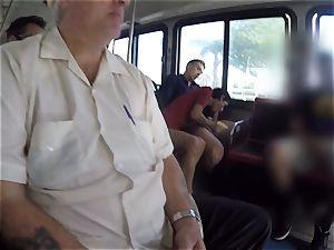 Karmen Bella pulverizes her boy on a crowded bus