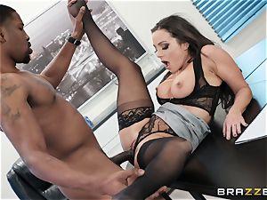 Abigail Mac slammed by a humungous ebony cock