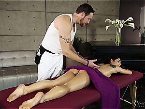 petite Gina Valentina gets well-lubed up and fumbled