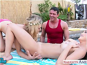 two women at the pool insane for a great smash and facial