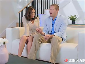 Kaylani Lei thrashed scrotum deep by strung up horny Xander
