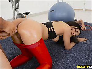 catapulting Maya Bijou deep in the minge in the gym