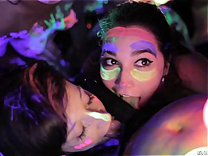molten lesbians frolicking with fluorescent bod paint