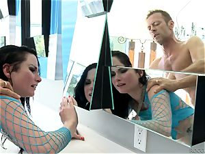 Veruca James and Abella Danger getting porked by Rocco Siffredi