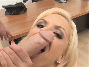 stellar secretary Nina Elle deepthroats weenie in the office