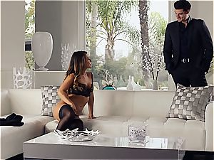 sumptuous Eva Lovia is teaching her bf some manners before the party