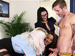 CFNM office babes blowing coworkers stiffy