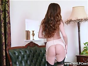 honey unwraps to nylons high-heeled slippers to toy her cunt