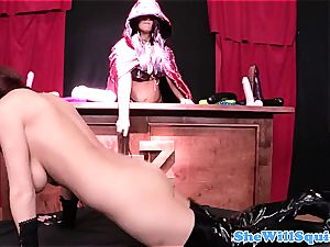 buxomy ginger-haired riding in her call girl boots