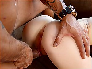 Babyfaced Kira loves big pacifier in her tight donk