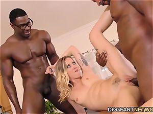 Haley Reed humiliates cuckold With 2 dark-hued men
