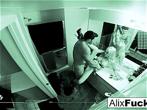Alix gets a superb pulverizing in a tight douche