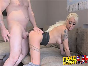 FakeAgentUK petite blond UK call girl takes gigantic meaty fuckpole