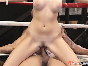 Alexis Adams cunny puckered in the boxing ring by huge spear