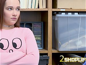 April gets down on her knees to receive officers ample cock